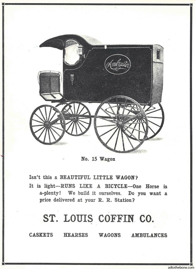 Magazine ad for St. Louis Coffin Co.'s No. 15 Wagon