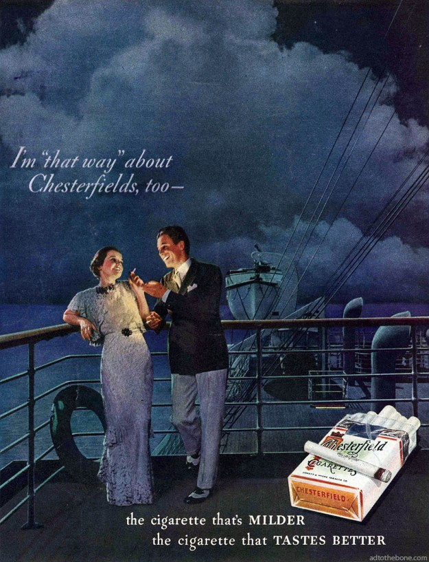 1934 magazine ad for Chesterfield cigarettes
