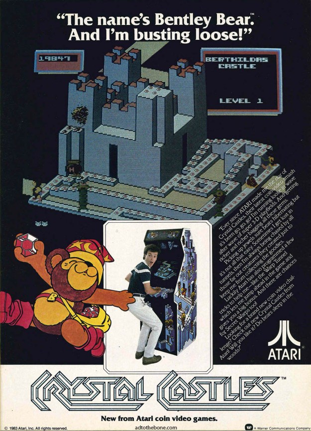 A 1983 magazine ad for Atari's Crystal Castles.