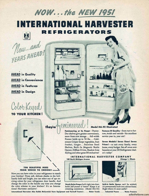 International Harvester Refrigerator magazine ad found in a 1951 issue of Tractor Farming