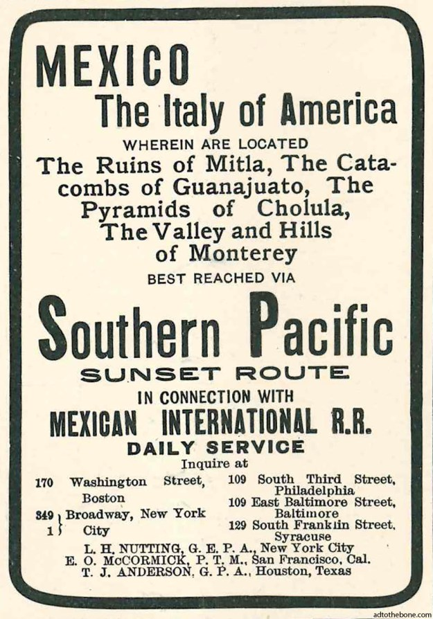 A 1904 magazine ad for Southern Pacific