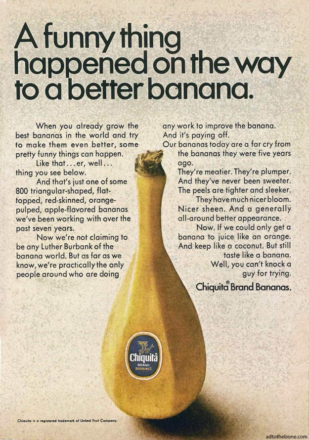1967 magazine ad for Chiquita Bananas / United Fruit Company