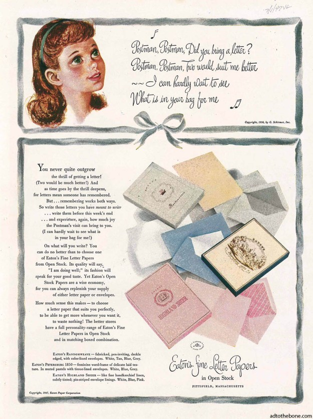 1947 magazine ad for Eaton's Fine Letter Papers