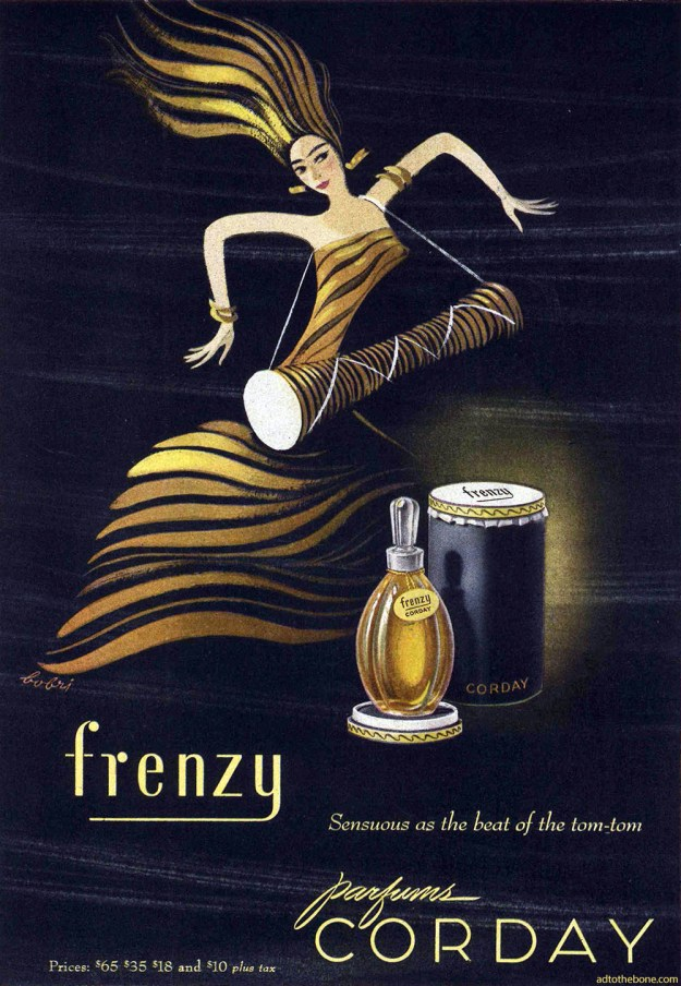 1946 magazine ad for Corday's Frenzy perfume.