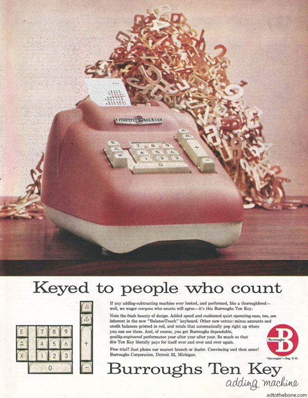 Burroughs Ten Key Adding Machine magazine found in the January 19, 1957 issue of The Saturday Evening Post