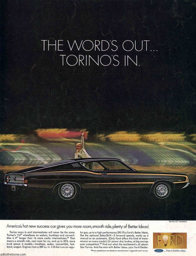 Ford Torino magazine ad found on the back cover of an April 6, 1968 Saturday Evening Post