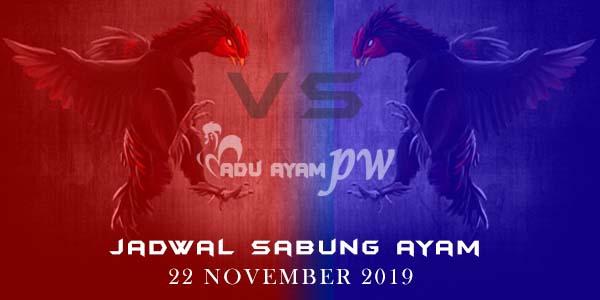 Jadwal Resmi Laga Ayam Online 22 November 2019
