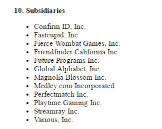 FriendFinder.com subsidiaries