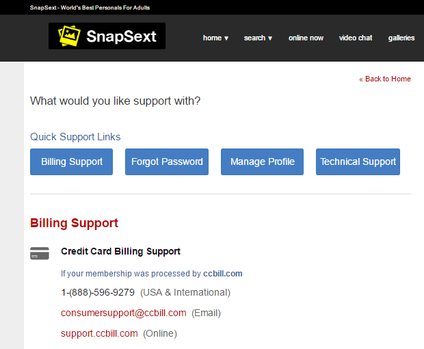 Snapsext.com customer support