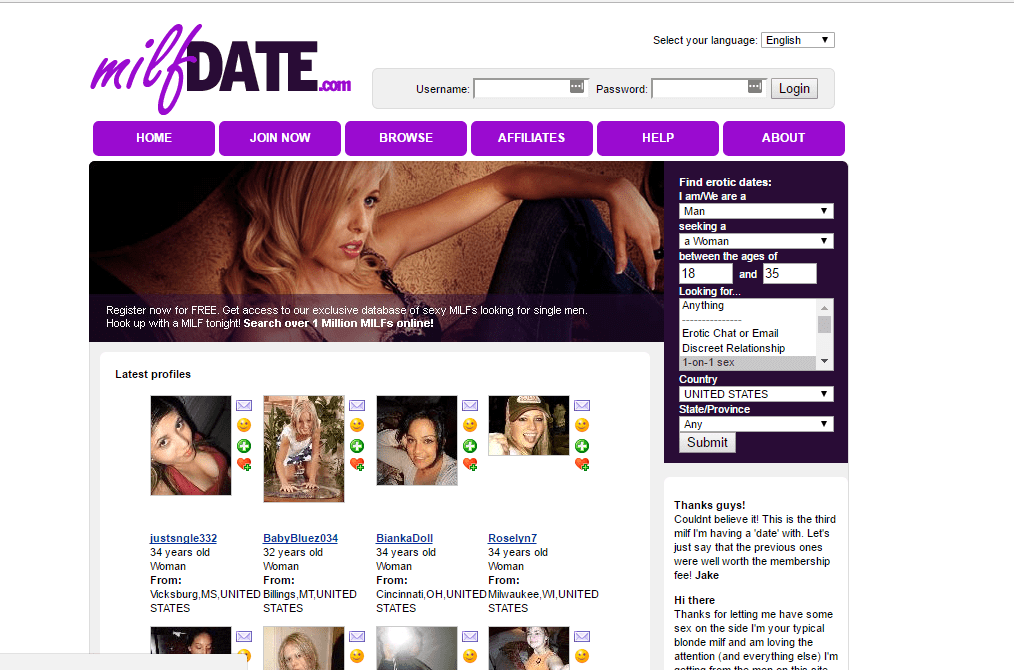 MilfDate.com screencap