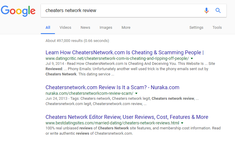 Cheaters Network poor reviews