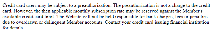 Mega Hookup credit card authorization