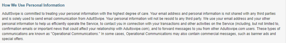 Adult Swipe use of personal info