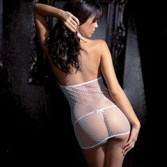 Fantasy Lingerie Belted Fishnet Halter Dress & G-String White
