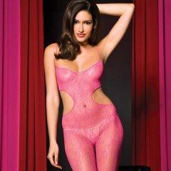 Music Legs Seamless Lace Cutout Sides Body Stocking Pink