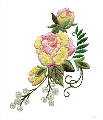 Bordir Bunga Mawar Kecil