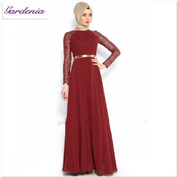 Contoh Gaun Pesta Muslimah Merah