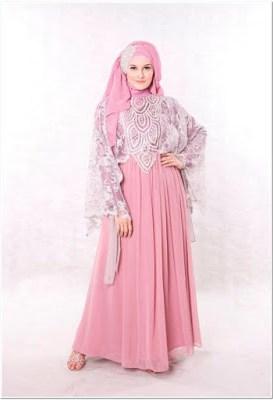 Baju Pesta Renda Panjang Pink Terbaru