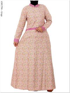 Model baju gamis motif bunga kecil