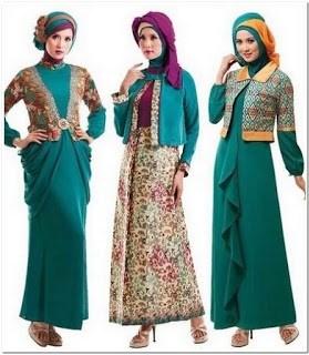 Long dress batik kombinasi brokat