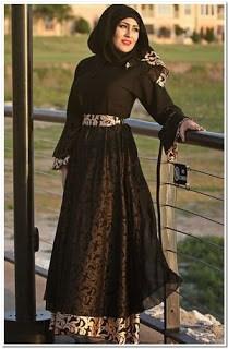 Model gamis batik kombinasi satin terbaru 2018