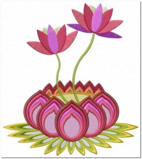 Aneka bordir bunga teratai