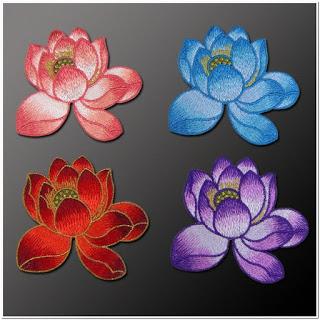 Gambar bordir tempel bunga teratai