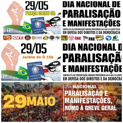 Dia 29 de maio – Paralisação Nacional