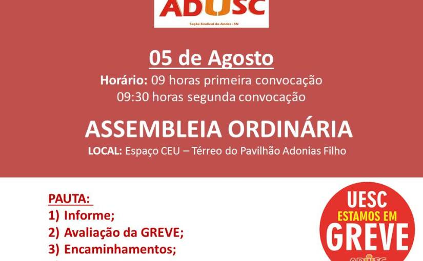 ADUSC convoca assembleia para quarta-feira(5)