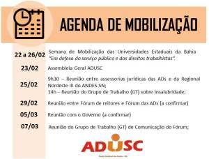 calendário de mobilização