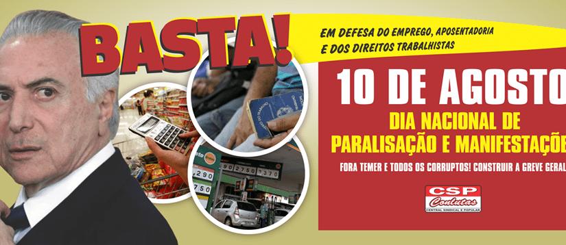 10 de AGOSTO – Dia do Basta!