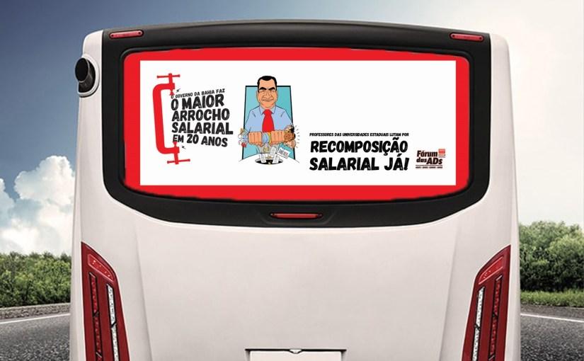 FÓRUM DAS ADS DENUNCIA ARROCHO SALARIAL COM BUSDOORS EM SALVADOR