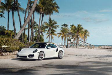 White Porsche 991 Turbo S - ADV10.0 M.V2 CS Forged Concave Wheels