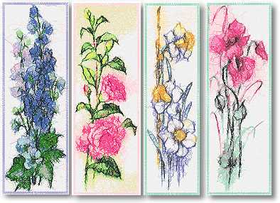 Advanced Embroidery Designs Flower Bookmark Set