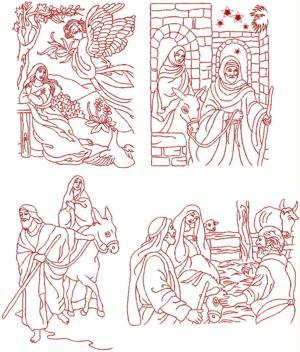 Advanced Embroidery Designs Nativity Redwork Set