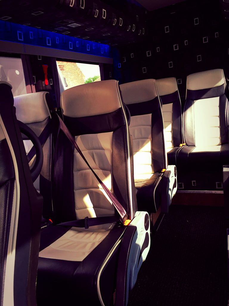 Leather seats inside luxury 2009 Mercedes Sprinter Minibus Hire