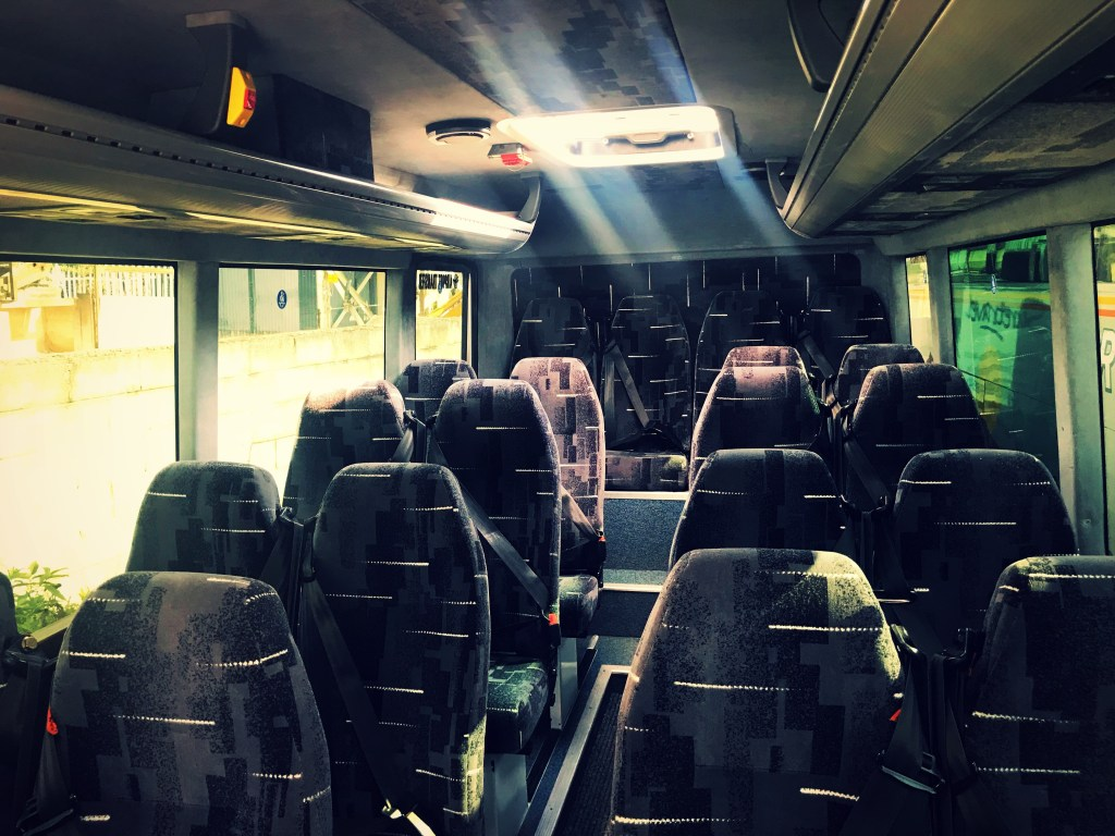 Inside view of our 24 seater Mercedes, available for hire