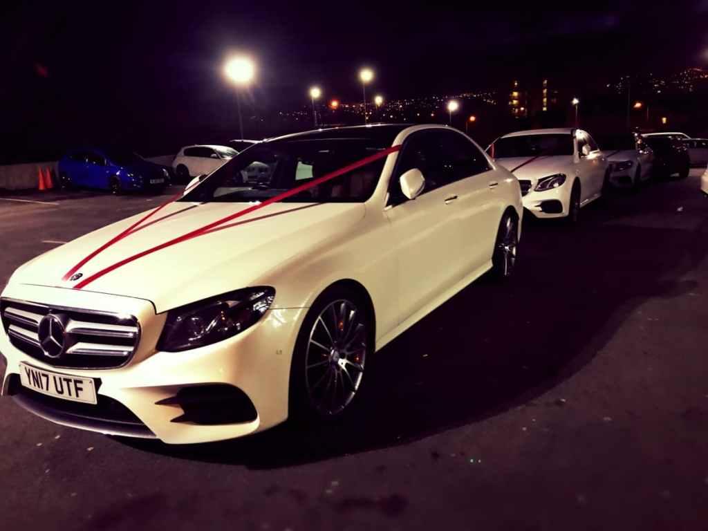 Mercedes-Benz-E-Class-Chauffeur-Hire-Wedding-Red-Ribbon