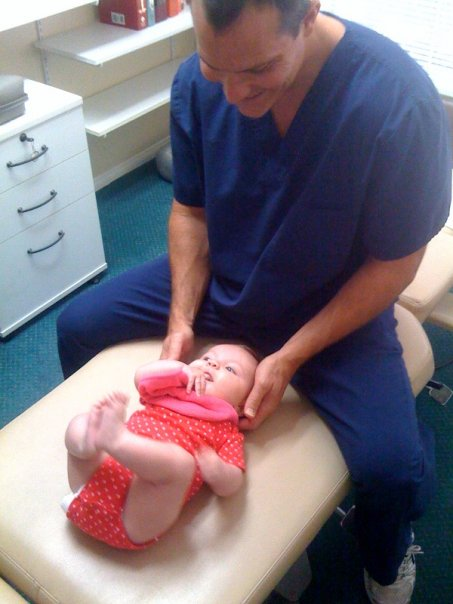 Nailani's first chiropractic adjustment - Just a couple of weeks old