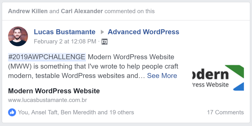 Snippet preview of Lucas Bustamente's post in the Advanced WordPress Facebook group.
