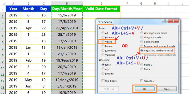 Text to column(Join days, months and years to form valid date formats)-4
