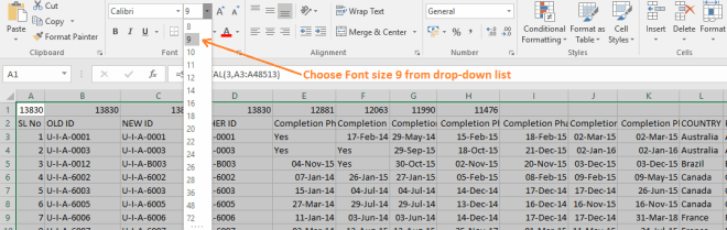 Reduce Excel File size-10 (Use Font Size Drop-down box)