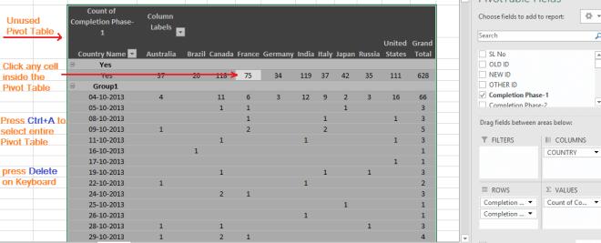 Reduce Excel File size-26 (Delete the Unused Pivot Table)