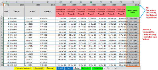 Reduce Excel File size-33 (Convert the Unnecessary Formulas into Values )