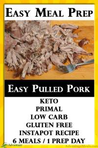 Easy Meal Prep for your Keto Diet. This Instapot Pulled Pork is super easy and affordable.