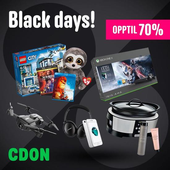 Black Days | Superdeals med opptil 70% rabatt hos CDON