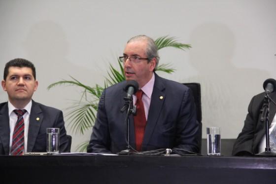 O presidente da Câmara dos Deputados, Eduardo Cunha, compareceu ao evento e demonstrou seu apoio à Frente. (Foto: Márcia Ebinger)
