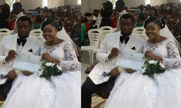 Adventist couple weds with no reception, bridal train, groomsmen, best man and chief bridesmaid