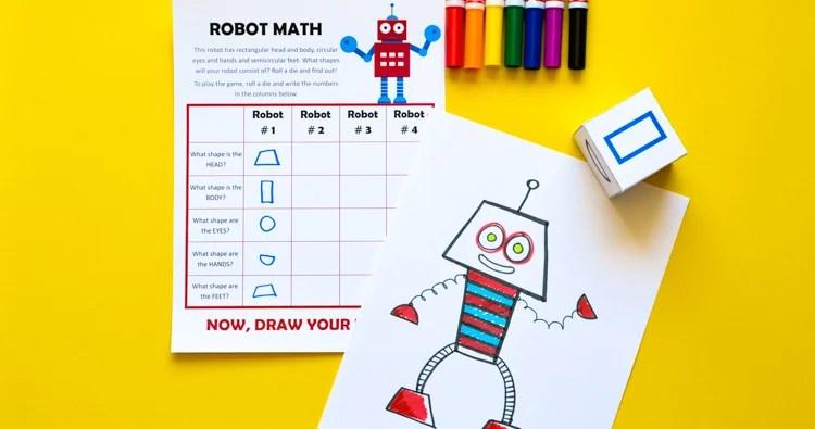 Robot Math Printable Game Of Art Amp Geometric Shapes For