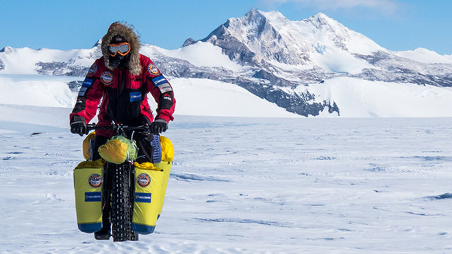 polar explorer eric larsen riding fatbike in antarctica